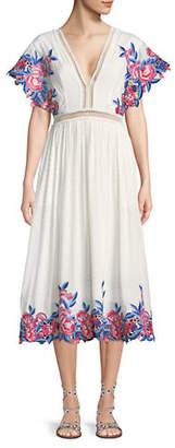 Saylor Lilliana Floral Embroidered Eyelet Midi Dress