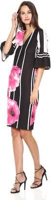 ECI New York Women's 3/4 Ruffle Sleeve V-Neck Printed Crepe Dress, Black/Pink
