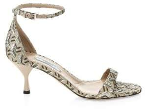 Prada Kitten Heel Brocade Ankle Strap Sandals
