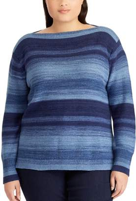 Chaps Plus Size Striped Linen-Blend Boatneck Sweater