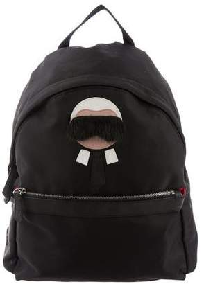 Fendi Fur-Trimmed Karl Lagerfeld Backpack