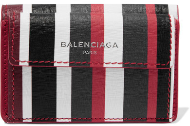 Balenciaga  Balenciaga - Striped Textured-leather Wallet - one size