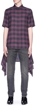 Helmut Lang Detachable hem ombré check plaid short sleeve shirt