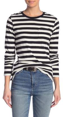 Levi's Perfect Striped Long Sleeve Crew Neck Pocket Tee