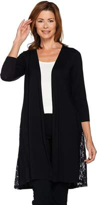 Joan Rivers Classics Collection Joan Rivers 3/4 Sleeve Jersey Knit Duster with Lace Detail