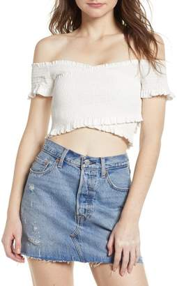 ASTR the Label Crossover Smocked Crop Top