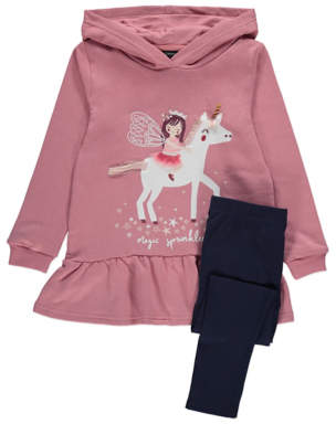 George Pink Unicorn Hoodie and Leggings Outfit