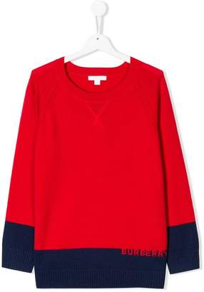 Burberry TEEN Logo Intarsia Cashmere Sweater