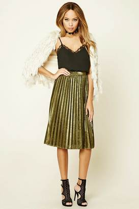 FOREVER 21+ Metallic Pleated Skirt $24.90 thestylecure.com