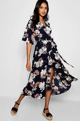 boohoo NEW Womens Flare Sleeve Wrap Front Floral Maxi Dress in Polyester