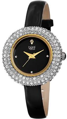 Burgi Gold Tone Dress Quartz Watch With Leather Strap [BUR195GN]