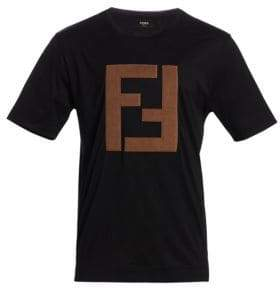 Fendi Faux Suede Logo Cotton Tee