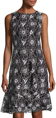 Eliza J Lace-Overlay Belted Fit-and-Flare Dress, Multi