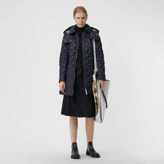 Burberry Detachable Hood Lightweight Diamond Quilted Coat