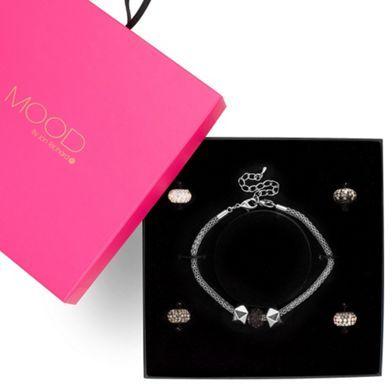Monochrome pave crystal ball charm bracelet