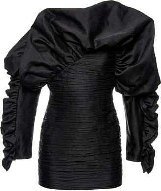 Magda Butrym Trani Taffeta Cold-Shoulder Mini Dress Size: 36