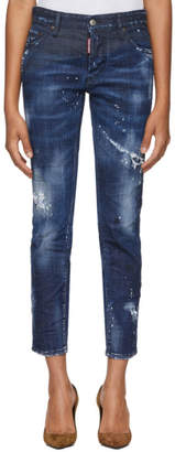 DSQUARED2 Blue Boyfriend Dark Wash Jeans