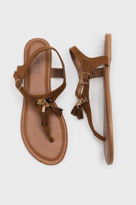Ardene Tassel T-Strap Sandals
