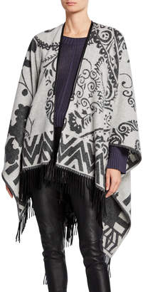 Magaschoni Mag By Cashmere Floral Fringe Tie-Front Wrap