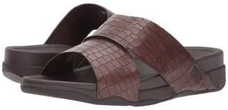 FitFlop Bando Leather Croc Slide Men's Sandals