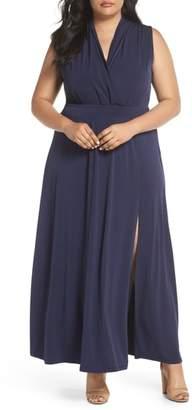 MICHAEL Michael Kors Slit Faux Wrap Maxi Dress