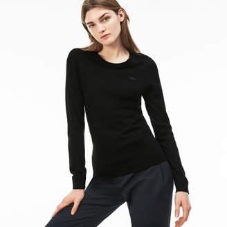 Lacoste Women's Crew Neck Wool Jersey Sweater