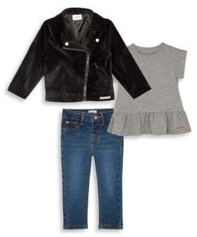 Hudson Baby Girl's& Little Girl's Three-Piece Biker Jacket, Pepum Top& Jeans Set