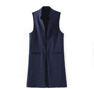 Voguegirl Women Solid Mandarin Collar Sleeveless Slim Waistcoat Long Suit Vest