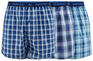Mantaray Big And Tall Pack Of Three Blue Checked Woven Boxers