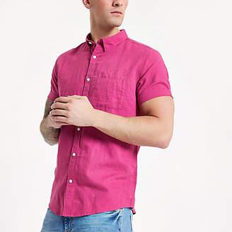 River Island Mens Pink linen short sleeve shirt