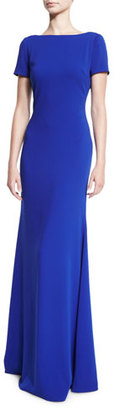 Badgley Mischka Short-Sleeve Stretch Crepe Gown, Electric Blue $795 thestylecure.com