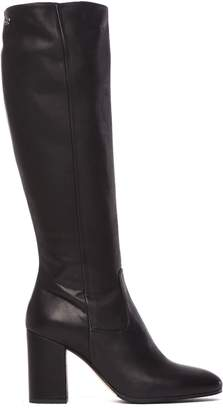 Fabi Heel Boot In Smooth Black Leather