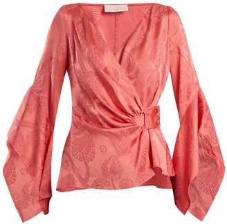 Peter Pilotto V-neck satin jacquard wrap blouse