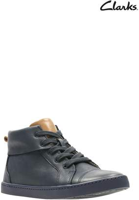 Next Boys Clarks Navy Leather City Oasis Lace Up Toddler Trainer