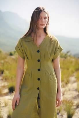Next Womens Jigsaw Green Linen Button Through Dress