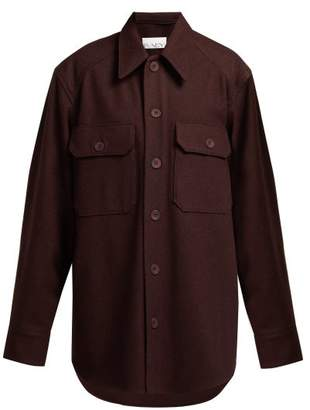 Raey Army Wool Jacket - Womens - Burgundy