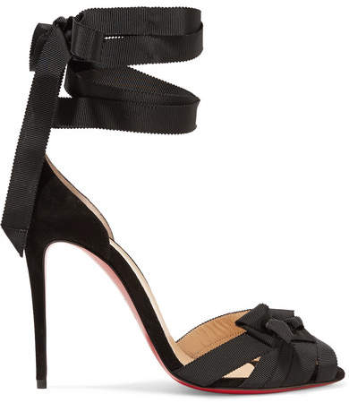 Christian Louboutin - Christeriva 100 Bow-embellished Grosgrain And Suede Sandals - Black