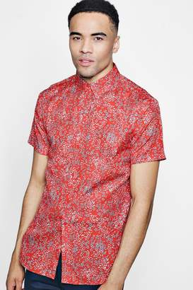 boohoo Red Floral Print Short Sleeve Shirt