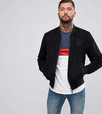 SikSilk Bomber Jacket In Black Suedette