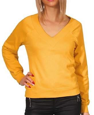Only Women's Onlfrosemary Deep V-Neck SWT Sweatshirt, Bright White, (Size: Small)