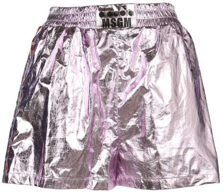 Metallic Faux Leather Track Shorts