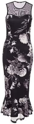 Quiz Black And Grey Floral Mesh Frill Dress