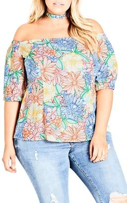 City Chic Etched Bloom Top with Choker