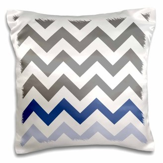 3dRose Charcoal grey chevron with blue zig zag accent - gray zigzag pattern - Pillow Case, 16 by 16-inch