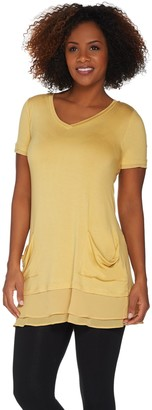 Logo By Lori Goldstein LOGO by Lori Goldstein Chiffon Trim Tee with Front Pockets
