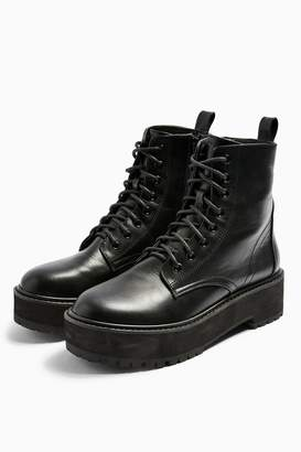 Topshop OSLO Black Chunky Lace Up Boots