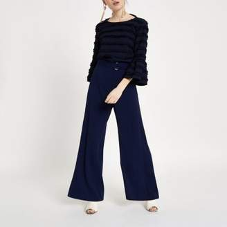 River Island Petite navy belted wide leg pants