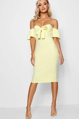 boohoo Louise Tie Front Off the Shoulder Midi Dress
