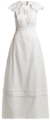 Calvin Klein 205w39nyc - Ruffled Striped Silk Blend Gown - Womens - Light Blue