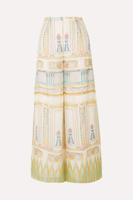 Temperley London Athena Printed Silk-chiffon Wide-leg Pants - Cream